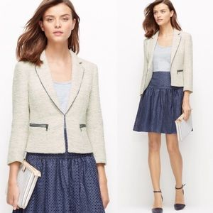 Ann Taylor White + Blue Tweed Piped Blazer Jacket